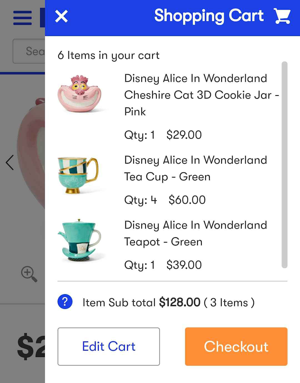 Big W delivery items supplied screenshot