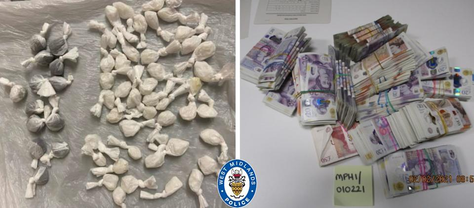 Drugs and money were seized by police. (West Midlands Police)