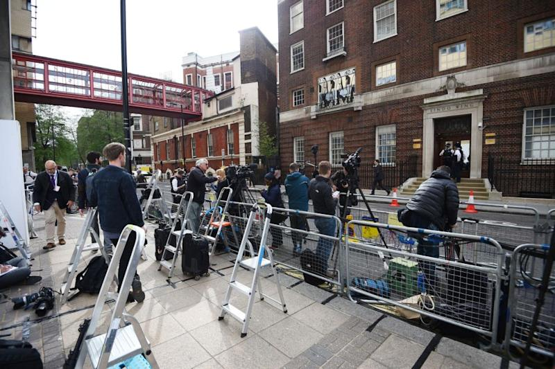 Media packed out the outside of the Lindo Wing. Photo: Getty Images