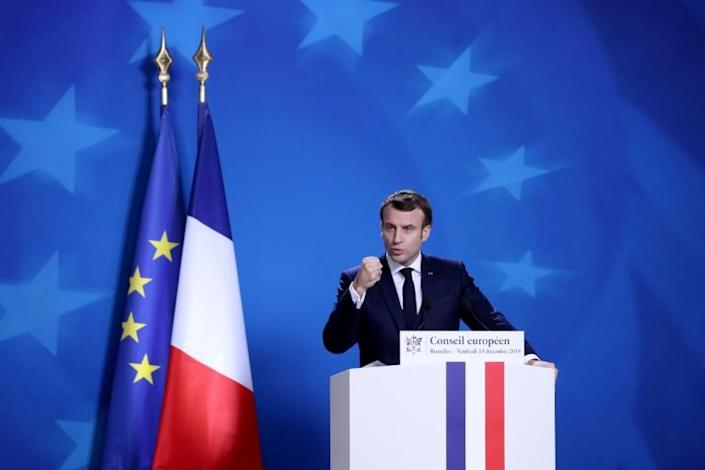 President Emmanuel Macron on Friday expressed his 'solidarity' with people impacted by the strike (AFP Photo/ARIS OIKONOMOU)