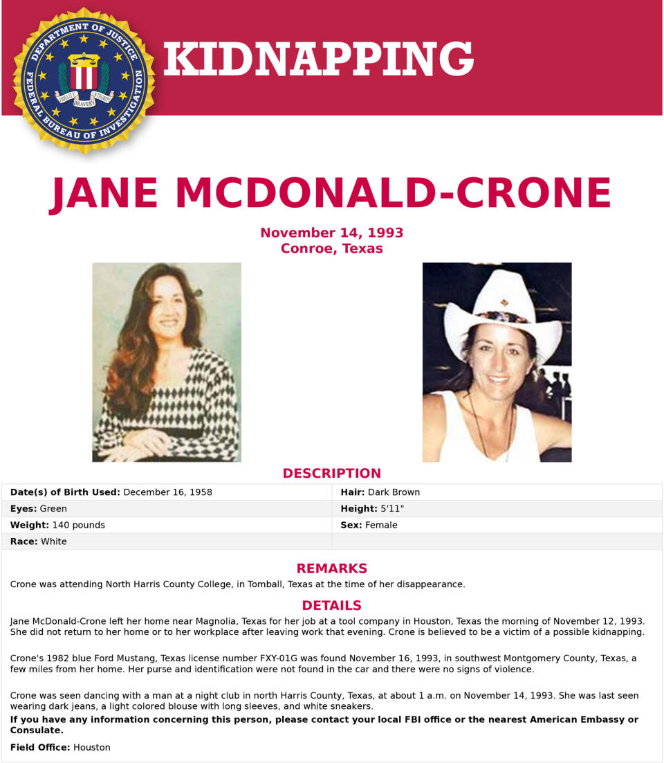 Wanted poster of Jane McDonald-Crone by FBI. Source: Newsflash/Australscope
