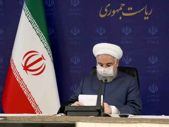 Hassan Rouhani wearing a face mask during a meeting of Iran's National Task Force for Fighting Coronavirus (EPA)