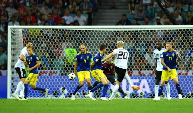 Soccer Football - World Cup - Group F - Germany vs Sweden - Fisht Stadium, Sochi, Russia - June 23, 2018 Germany's Julian Brandt hits the post with a shot REUTERS/Dylan Martinez