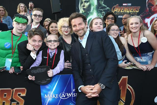 <p>Cooper, who voices Rocket in the film, gave his best movie-star smile. (Photo: Tommaso Boddi/Getty Images for Disney) </p>