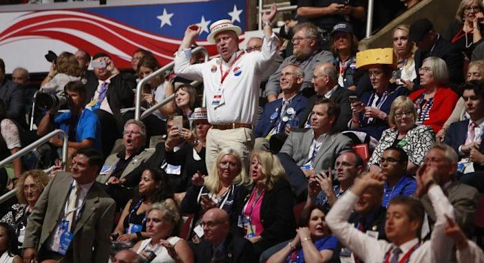 Spectators react as Texas Sen. — and former Republican presidential hopeful — Ted Cruz speaks on the third day of the 2016 Republican National Convention. (Photo: David Maxwell/EPA)