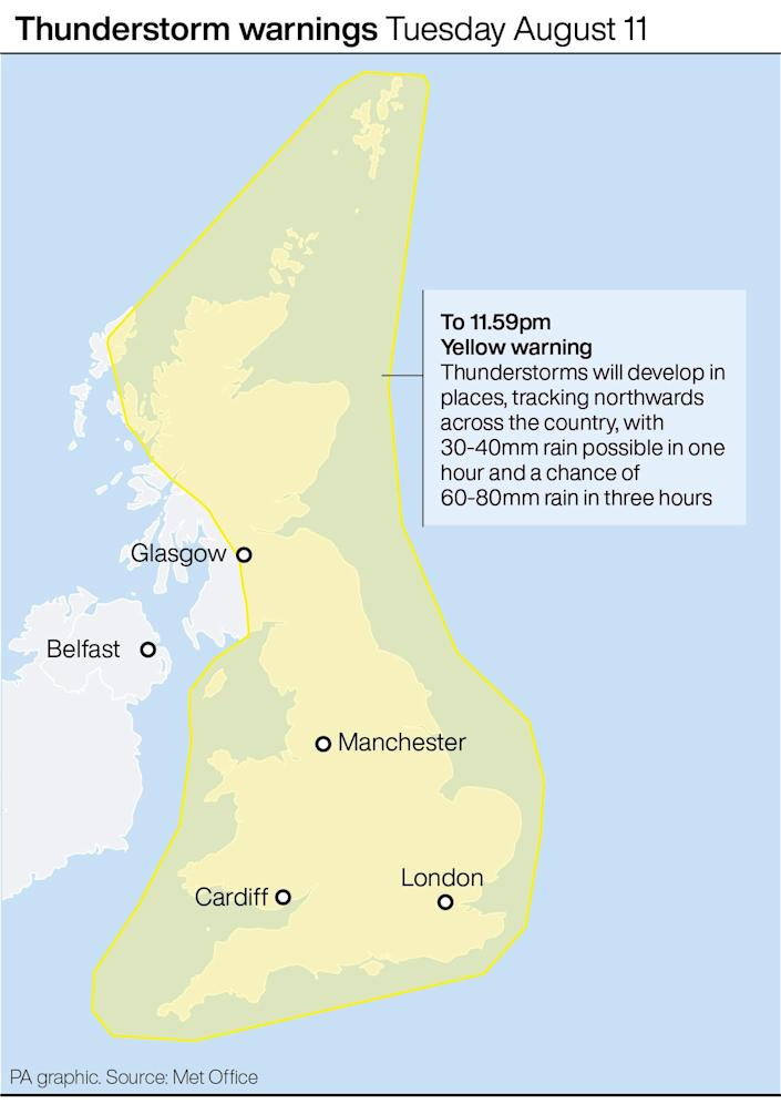 UK thunderstorm weather warnings: Forecast for Tuesday August 11