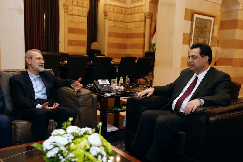 Lebanese Prime Minister Hassan Diab meets with Iranian parliament speaker Ali Larijani in Beirut