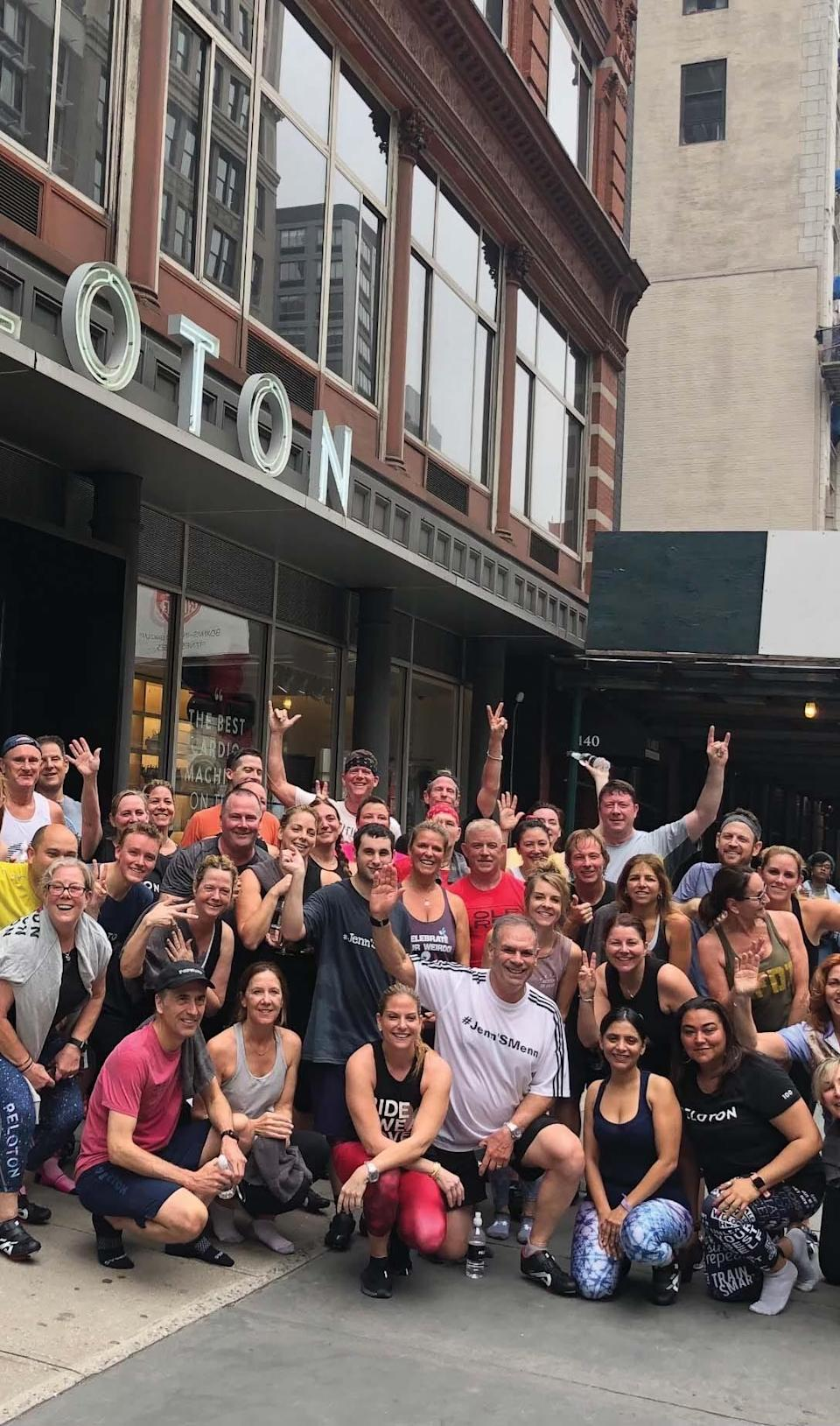 Demarest, NJ, Jenn Sherman has been a Peloton instructor since day one.Sherman at annual Peloton Homecoming in 2019 with other Peloton members outside of the former Peloton Studio in NYC