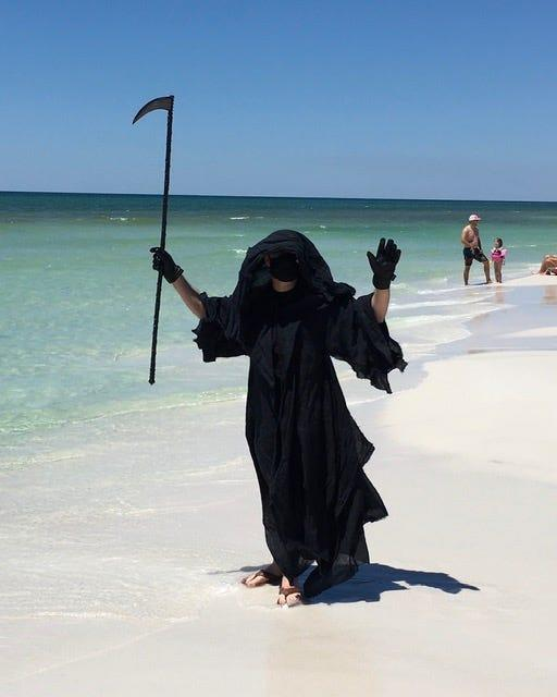 Florida attorney Daniel Uhlfelder traveled to beaches in Walton County, Florida, to protest what he called the premature reopening of beaches in the state amid the coronavirus pandemic.