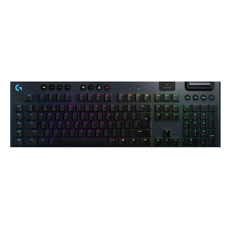 """<p><strong>Logitech G</strong></p><p>amazon.com</p><p><a href=""""https://www.amazon.com/dp/B07NY9ZT92?tag=syn-yahoo-20&ascsubtag=%5Bartid%7C2089.g.864%5Bsrc%7Cyahoo-us"""" rel=""""nofollow noopener"""" target=""""_blank"""" data-ylk=""""slk:Shop Now"""" class=""""link rapid-noclick-resp"""">Shop Now</a></p><p>The Logitech G915 wireless mechanical gaming keyboard is the best of its kind. It has a beautiful design, headlined by an insanely low profile and an aircraft-grade aluminum alloy base with amazing tactility. The keyboard utilizes the gaming giant's own mechanical switches, which are nothing short of superb. You can pick between clicky, linear, and tactile ones.</p><p>The keyboard delivers uncompromisingly excellent gaming performance in wireless mode. You can connect it to your PC via a USB receiver or Bluetooth. The G915 can deliver up to 30 hours of gameplay between charges with its backlighting in maximum brightness.</p><p>A Logitech G Hub software suite allows you to customize the keyboard's functionality and its RGB lighting. Dedicated multimedia keys are also among the key features of the G915. My favorite bit about them is the rotating volume key.</p><p><strong>More: </strong><a href=""""https://www.bestproducts.com/tech/gadgets/g754/best-mechanical-keyboards/"""" rel=""""nofollow noopener"""" target=""""_blank"""" data-ylk=""""slk:Other Mechanical Keyboards We Like"""" class=""""link rapid-noclick-resp"""">Other Mechanical Keyboards We Like</a><br></p>"""