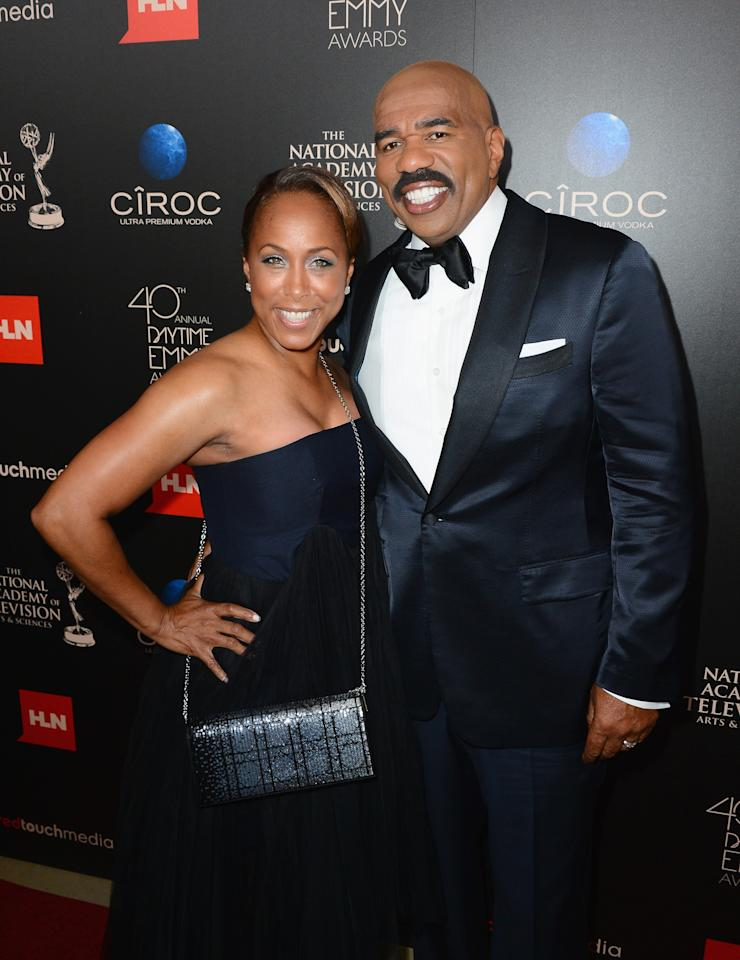 BEVERLY HILLS, CA - JUNE 16: Actor/comedian Steve Harvey (R) and Marjorie Bridges-Woods attend The 40th Annual Daytime Emmy Awards at The Beverly Hilton Hotel on June 16, 2013 in Beverly Hills, California. (Photo by Mark Davis/Getty Images)