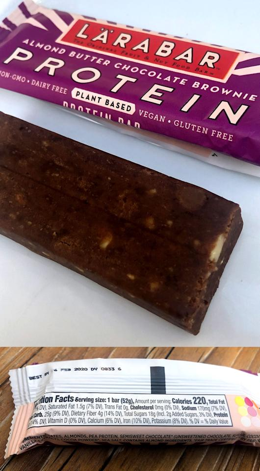 <p>The Almond Butter Chocolate Brownie was next on my list to try. The ingredients are dates, almonds, pea protein, semisweet chocolate (unsweetened chocolate, cane sugar, cocoa butter, vanilla extract), cocoa powder, and sea salt.</p> <p>Each bar has 220 calories, eight grams of fat, 1.5 grams of saturated fat, 170 milligrams of sodium, 25 grams of carbs, four grams of fiber, 18 grams of sugar (including two grams of added sugar), and 11 grams of protein.</p> <p>This too had a firm texture with a deep luscious chocolate brownie flavor. I liked the bits of almonds that added a crunchy texture.</p>