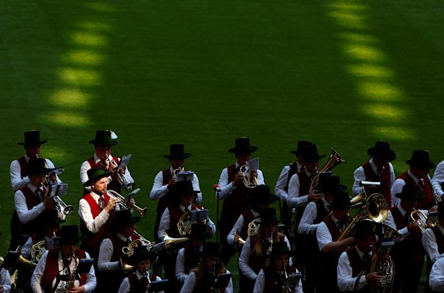 Soccer Football - Bundesliga - Bayern Munich v VfB Stuttgart - Allianz Arena, Munich, Germany - May 12, 2018 General view of a brass band performing on the pitch before the match REUTERS/Michaela Rehle DFL RULES TO LIMIT THE ONLINE USAGE DURING MATCH TIME TO 15 PICTURES PER GAME. IMAGE SEQUENCES TO SIMULATE VIDEO IS NOT ALLOWED AT ANY TIME. FOR FURTHER QUERIES PLEASE CONTACT DFL DIRECTLY AT + 49 69 650050