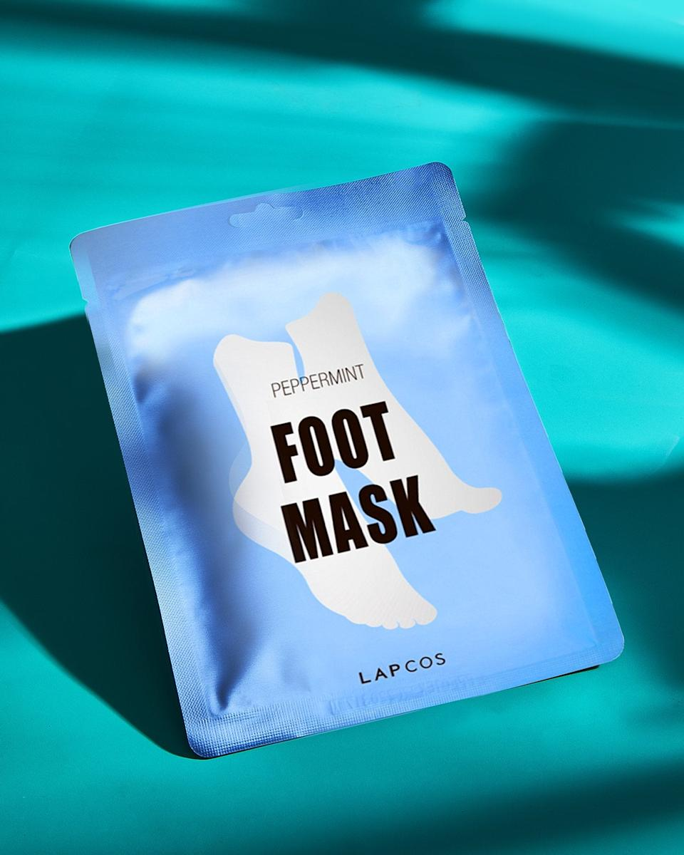 """<h3>LAPCOS Foot Mask<br></h3><br><strong>Karina (Me!)</strong><br><br>""""In quarantine, I've been doing the most when it comes to pampering my feet — and this well-priced foot sheet mask has become my latest obsession. It's similar to <a href=""""https://amzn.to/3f3Bw4c"""" rel=""""nofollow noopener"""" target=""""_blank"""" data-ylk=""""slk:Baby Foot"""" class=""""link rapid-noclick-resp"""">Baby Foot</a> in that one packet contains a single-use pair of plastic booties soaked with serum. But instead of creating a magical-molting effect, this masks hydrates and revitalizes tired toes with the help of peppermint oil and lavender. After removing and rinsing, you're left with nothing but soft and soothed feet that smell like a spa day."""" <br><br><strong>LAPCOS</strong> Foot Mask, (1-Pack), $, available at <a href=""""https://amzn.to/2OlmoUj"""" rel=""""nofollow noopener"""" target=""""_blank"""" data-ylk=""""slk:Amazon"""" class=""""link rapid-noclick-resp"""">Amazon</a>"""