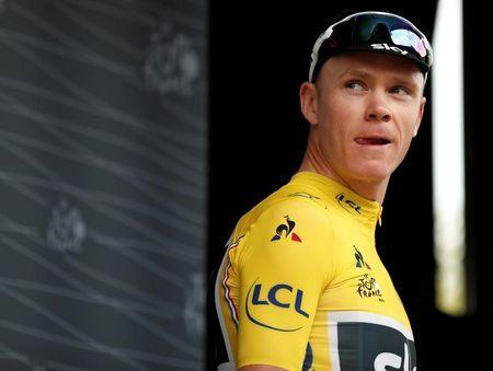 Cycling - The 104th Tour de France cycling race - The 103-km Stage 21 from Montgeron to Paris Champs-Elysees, France - July 23, 2017 - Team Sky rider and yellow jersey Chris Froome of Britain is seen before the start. REUTERS/Benoit Tessier