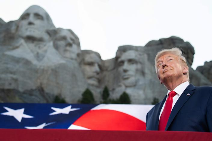 President Donald Trump arrives for Independence Day events at Mount Rushmore National Memorial in Keystone, South Dakota, on July 3, 2020.