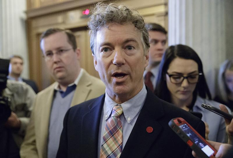 Sen. Rand Paul, R-Ky., speaks to reporters in April
