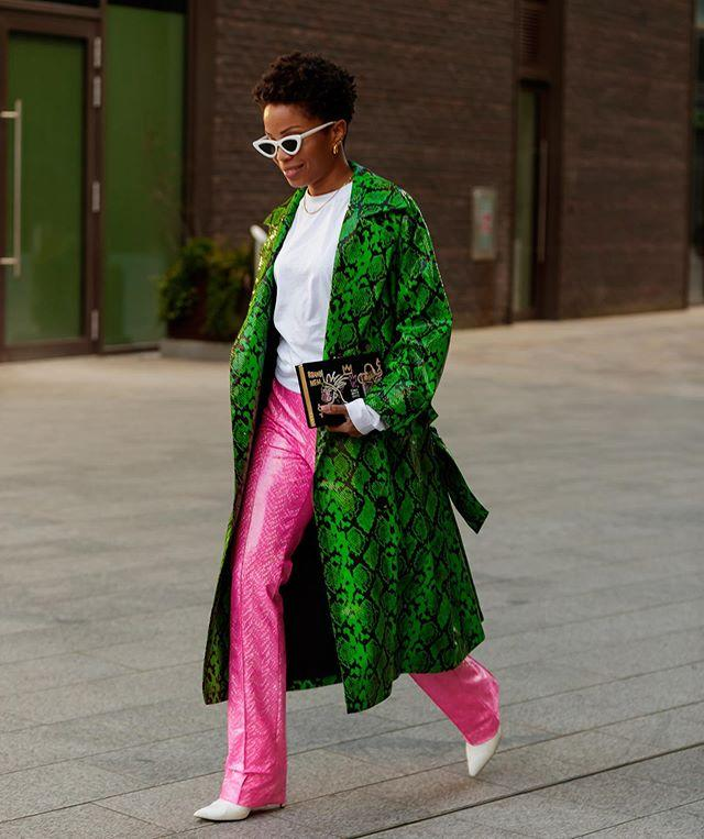"""<p>A bold-green, snakeskin-printed trench isn't for the faint of heart, but as the great Richard Branson said, """"""""It's only by being bold that you get anywhere."""" </p><p><a href=""""https://www.instagram.com/p/B9hol18lruv/?utm_source=ig_embed&utm_campaign=loading"""">See the original post on Instagram</a></p>"""