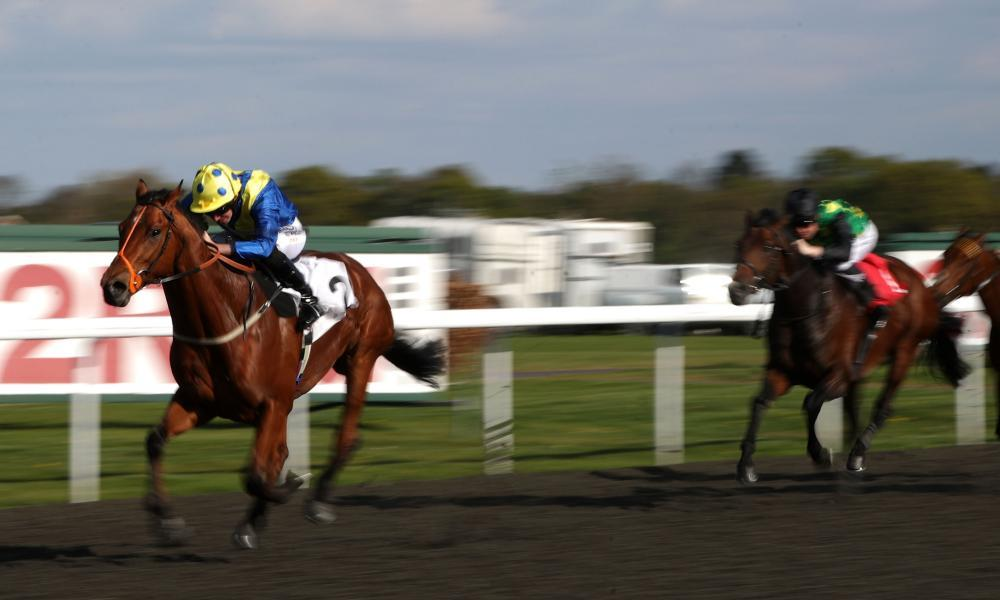 Khafoo Shememi ridden by Ryan Moore charges clear on the way to victory at Kempton