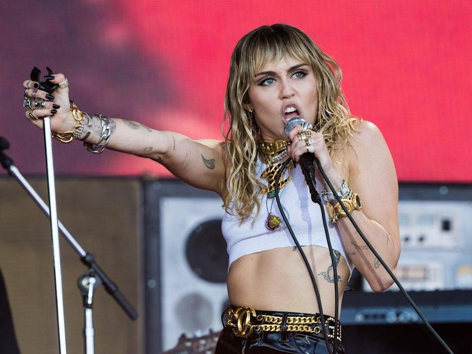 Cyrus covered Metallica's 'Nothing Else Matters' during her 2019 Glastonbury set (Getty)