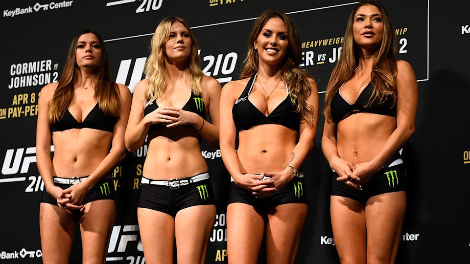The UFC's octagon girls have banded together after they were branded 'useless' by former UFC lightweight champ Khabib Nurmagomedov. (Photo by Jeff Bottari/Zuffa LLC/Zuffa LLC via Getty Images)