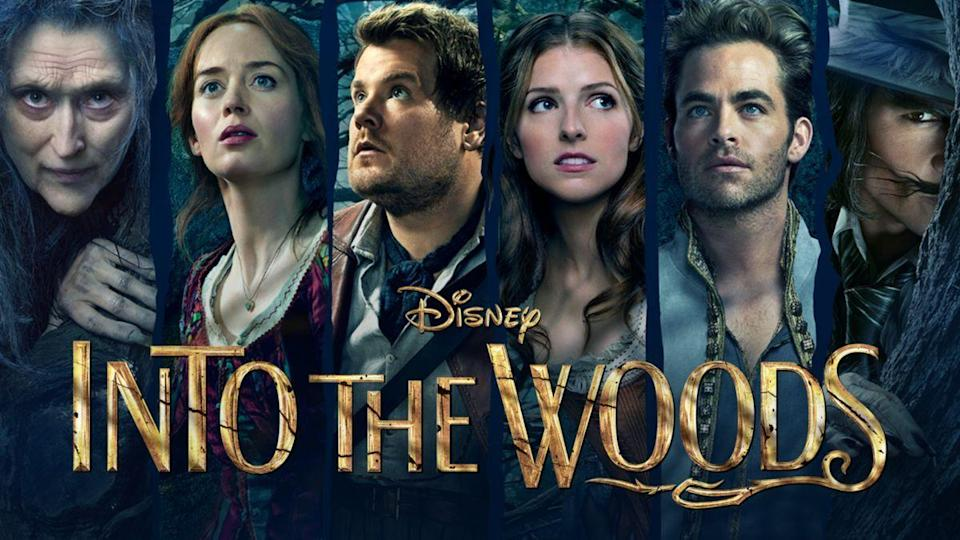 """<p>disneyplus.com</p><p><a href=""""https://go.redirectingat.com?id=74968X1596630&url=https%3A%2F%2Fwww.disneyplus.com%2Fmovies%2Finto-the-woods%2F1YYWziMOrDdq&sref=https%3A%2F%2Fwww.goodhousekeeping.com%2Fholidays%2Fhalloween-ideas%2Fg34348745%2Fbest-disney-plus-halloween-movies%2F"""" rel=""""nofollow noopener"""" target=""""_blank"""" data-ylk=""""slk:WATCH NOW"""" class=""""link rapid-noclick-resp"""">WATCH NOW</a></p><p>When a baker and his wife (James Corden and Emily Blunt) wish for a child, they must successfully break a family curse by gathering the ingredients for a magic potion. With Meryl Streep starring as an evil witch and Anna Kendrick portraying Cinderella, you know this fantasy film is in good hands. </p>"""