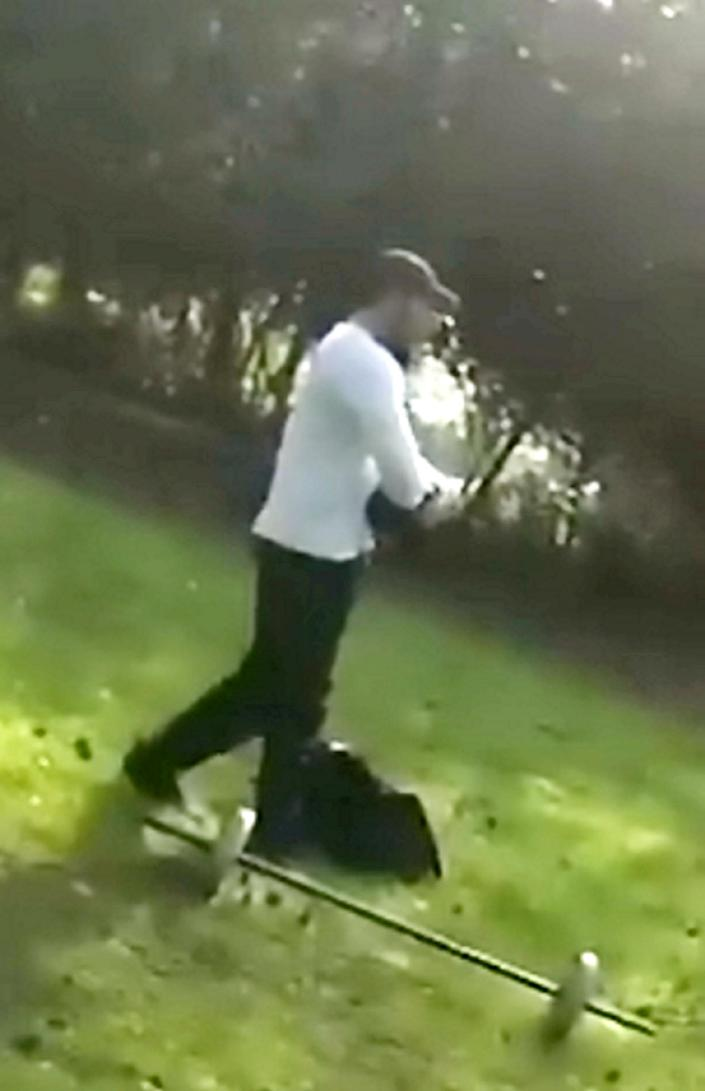 This man was caught sparring in a park with a friend after going there with a bag full of gym equipment. (SWNS)