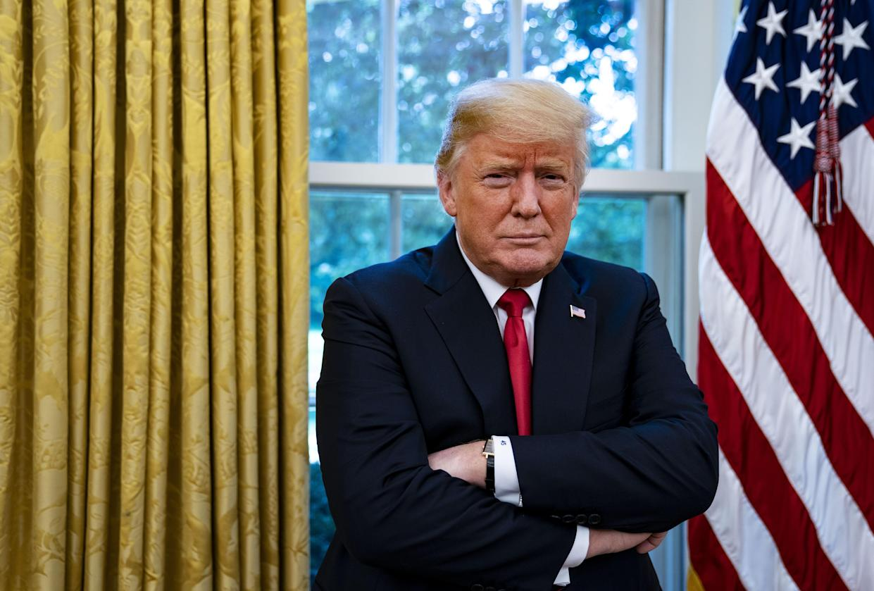 President Trump, who expanded his list of targets this week to include Google, Amazon and Facebook, is interviewed in the Oval Office of the White House in Washington on Thursday. (Photo: Al Drago/Bloomberg)