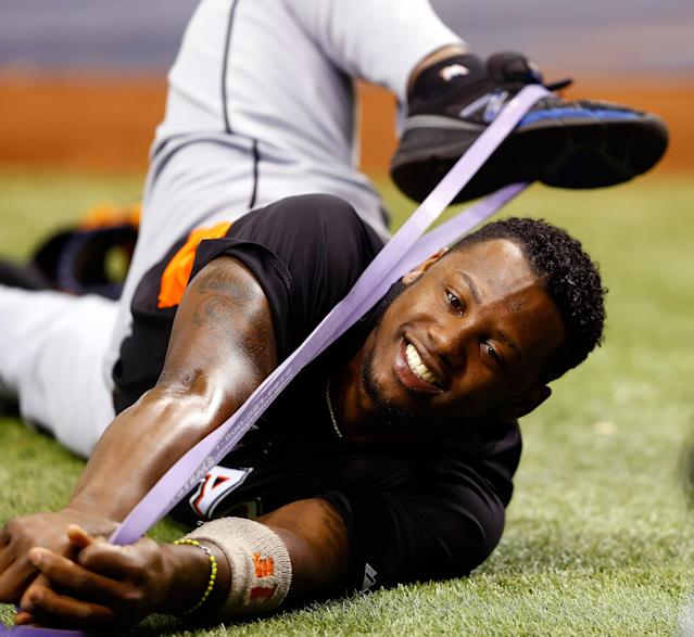 ST. PETERSBURG - JUNE 16: Infielder Hanley Ramirez #2 of the Miami Marlins stretches just before the start of the game against the Tampa Bay Rays at Tropicana Field on June 16, 2012 in St. Petersburg, Florida. (Photo by J. Meric/Getty Images)