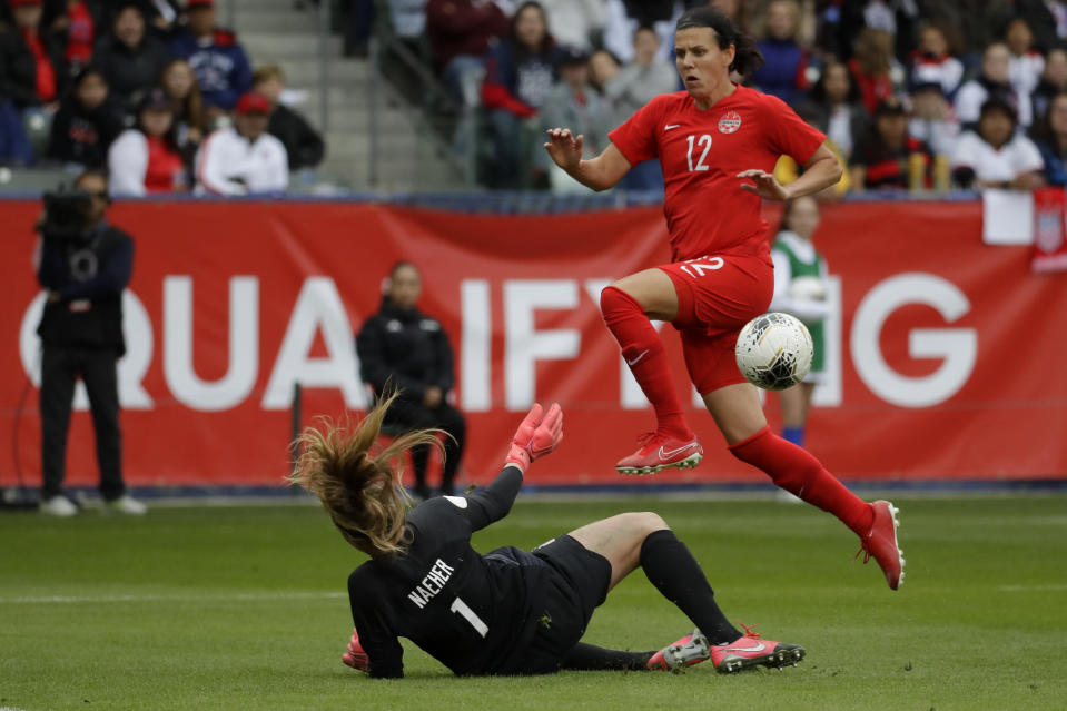 U.S. goalkeeper Alyssa Naeher blocks a shot by Canada forward Christine Sinclair during the first half of a CONCACAF women's Olympic qualifying soccer match Sunday, Feb. 9, 2020, in Carson, Calif. (AP Photo/Chris Carlson)