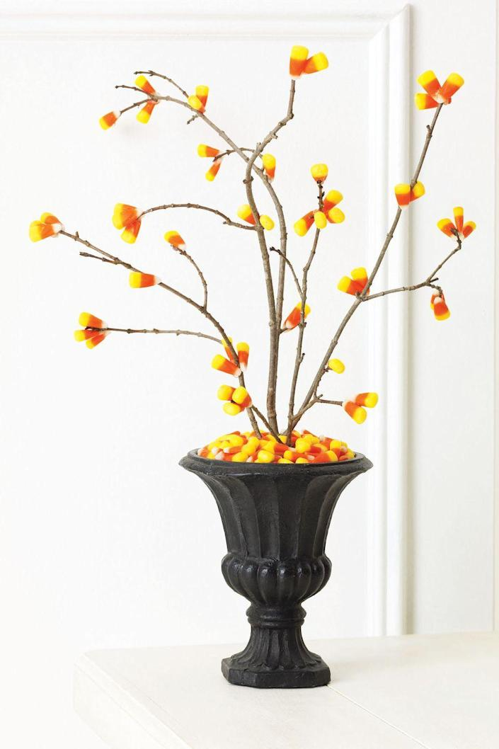 <p>Pick a few clean-looking branches from your yard and hot-glue candy kernels onto them in clumps, concentrating on the ends. Wedge the branches into a small Styrofoam or floral square and rest it in the base of a vase, then cover with candy corn.</p>
