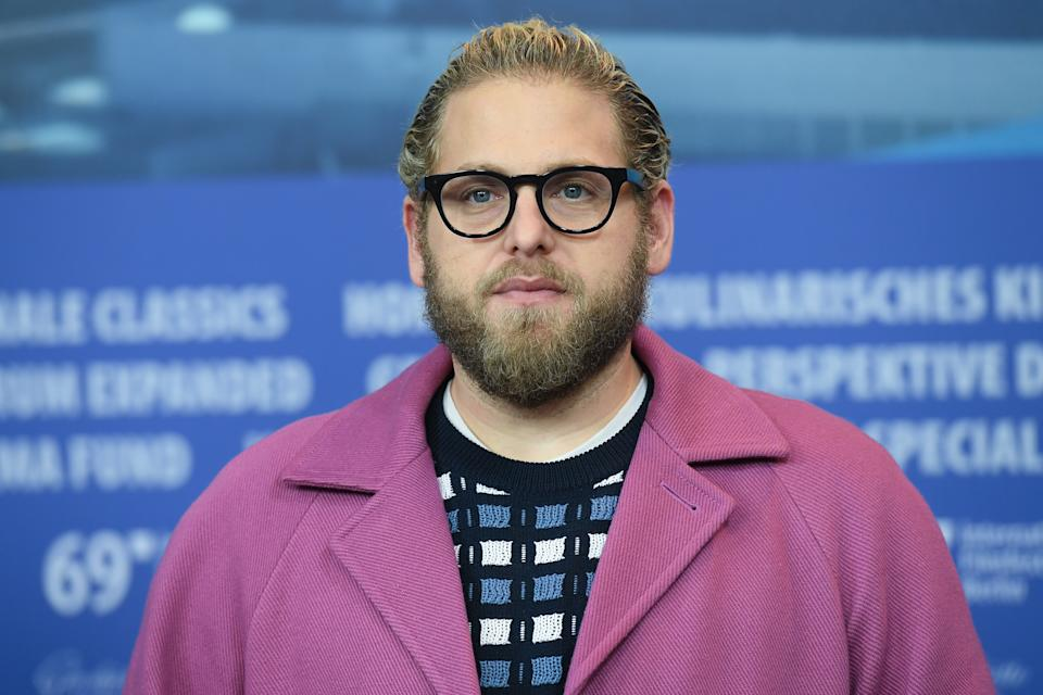 """Jonah Hill attends the """"Mid 90's"""" press conference during the 69th Berlinale International Film Festival. (Photo by Stephane Cardinale - Corbis/Corbis via Getty Images)"""