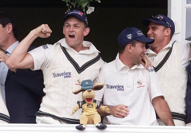 Adam Gilchrist (left) and Ricky Ponting (second right) were in the last Australia side to win the Ashes in England (Gareth Copley/PA)