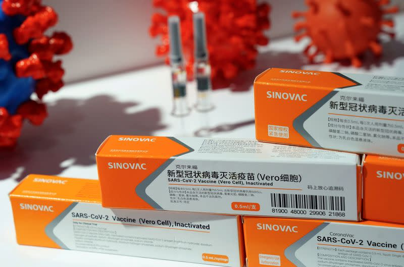 FILE PHOTO: Booth displaying a coronavirus vaccine candidate from Sinovac Biotech Ltd is seen at the 2020 China International Fair for Trade in Services (CIFTIS), following the COVID-19 outbreak, in Beijing