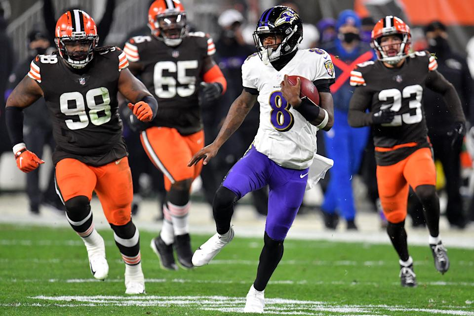 Lamar Jackson and the Browns powered the week's big ratings win. (Jason Miller/Getty Images)
