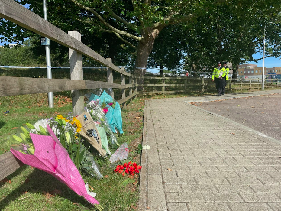 Flowers have been left close to where Sabina Nessa's body was found. (SWNS)