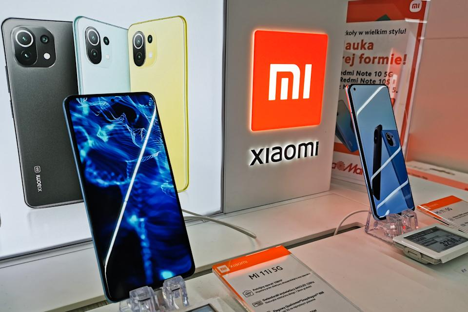 Xiaomi smartphone is photographed in a store in Krakow, Poland on August 26, 2021.  (Photo by Beata Zawrzel/NurPhoto via Getty Images)