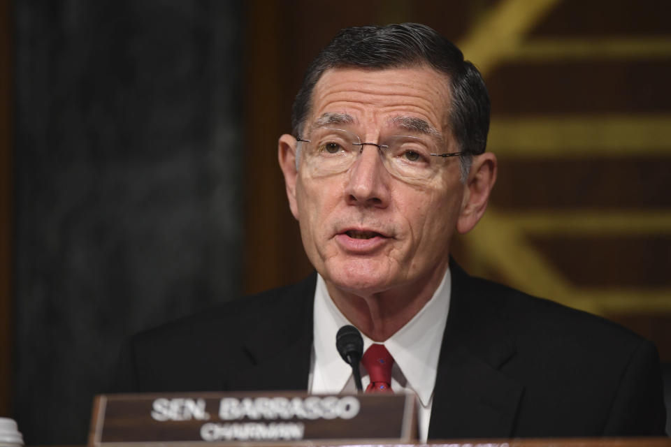 Chairman Sen. John Barrasso, R-Wy., speaks during a Senate Environment and Public Works Committee oversight hearing to examine the Environmental Protection Agency, Wednesday, May 20, 2020 on Capitol Hill in Washington. (Kevin Dietsch/Pool via AP)