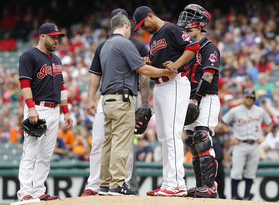 Carlos Carrasco is the latest Indians starter ruled out for the rest of the season. (Getty)