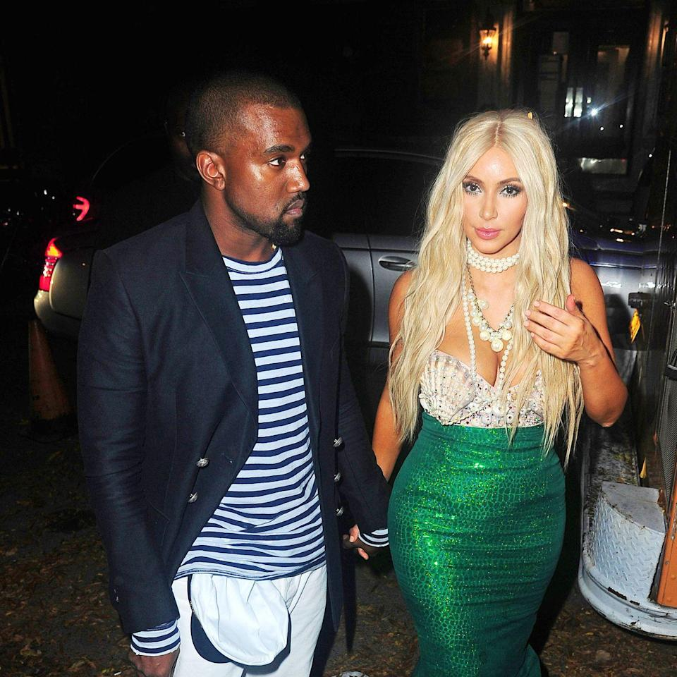<p>In 2012, Kimye stepped out in one of their very first couples costumes. Kim glittered in a mermaid frock, while Kayne wore a sailor outfit. </p>