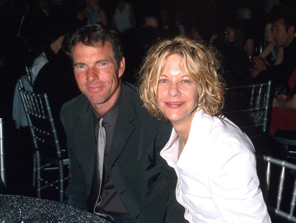 """Dennis Quaid and Meg Ryan pictured together in 2001, the year they divorced. He calls their relationship """"the most successful one of my life"""" in a new interview. He's been married and divorced three times. (Photo: Kevin Mazur/WireImage)"""