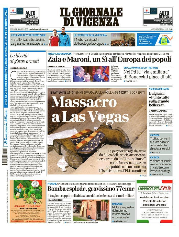 """<p>""""Il Giornale di Vicenza,"""" published in Vicenza, Italy. (newseum.org) </p>"""