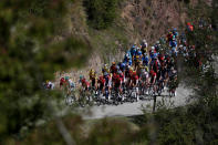 The pack rides during the second stage of the Tour de France cycling race over 186 kilometers (115,6 miles) with start and finish in Nice, southern France, Sunday, Aug. 30, 2020. (AP Photo/Thibault Camus)