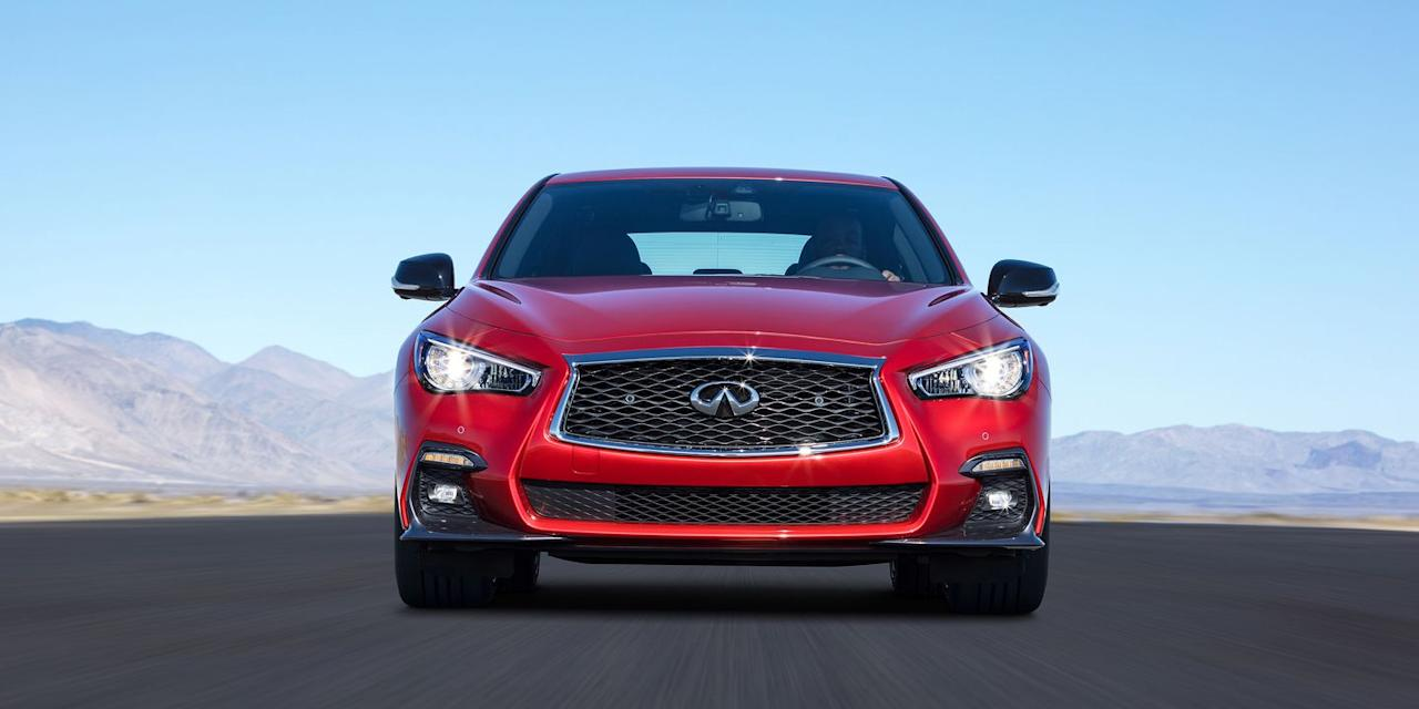 """<p>The Infiniti Q50 just barely makes it on our list with a base 3.0T costing just under $40,000. <a rel=""""nofollow"""" href=""""https://www.roadandtrack.com/new-cars/a27670/a-deeper-look-at-infinitis-new-twin-turbo-30-liter-v/"""">Its twin-turbo V6</a> makes 300 hp here, but in the more-expensive Red Sport 400 S, it makes, you guessed it, 400 hp. </p>"""