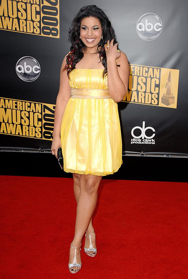 "Jordin Sparks looked like a ray of sunshine in her yellow Dolce & Gabbana dress. Steve Granitz/<a href=""http://www.wireimage.com"" target=""new"">WireImage.com</a> - November 1, 2008"