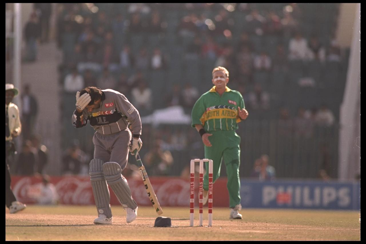 15 Feb 1996:  Allan Donald of South Africa hits Sultan Zarawani of the United Arab Emirates on the head with the cricket ball during the cricket world cup in Rawalpindi, Pakistan.