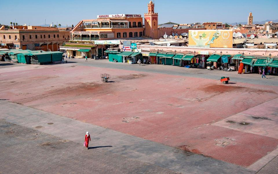 A crowd-free Jemaa el-Fna square in Marrakesh – unthinkable pre-pandemic - Getty