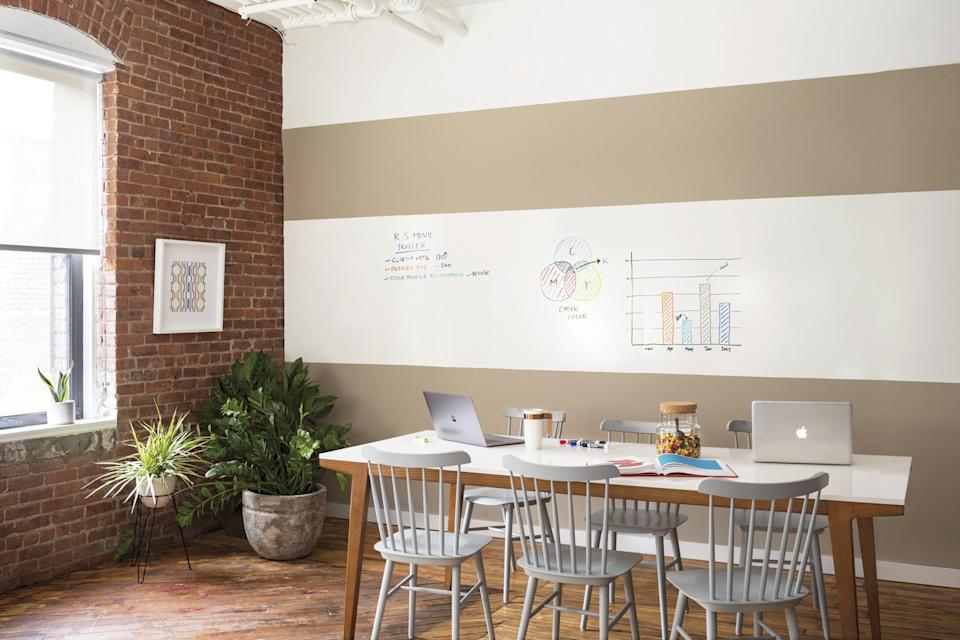 """<p>Why settle for regular paint when you can have a whole dry-erasable wall instead? """"Make an entire home office wall a dry erase board by painting a clear coat of <a href=""""https://www.benjaminmoore.com/en-us/notable-dry-erase-paint"""" rel=""""nofollow noopener"""" target=""""_blank"""" data-ylk=""""slk:Notable Dry Erase Paint"""" class=""""link rapid-noclick-resp"""">Notable Dry Erase Paint</a> over your choice of wall color,"""" says Hannah Yeo, color marketing and development manager at <a href=""""https://www.benjaminmoore.com/en-us"""" rel=""""nofollow noopener"""" target=""""_blank"""" data-ylk=""""slk:Benjamin Moore"""" class=""""link rapid-noclick-resp"""">Benjamin Moore</a>.</p>"""