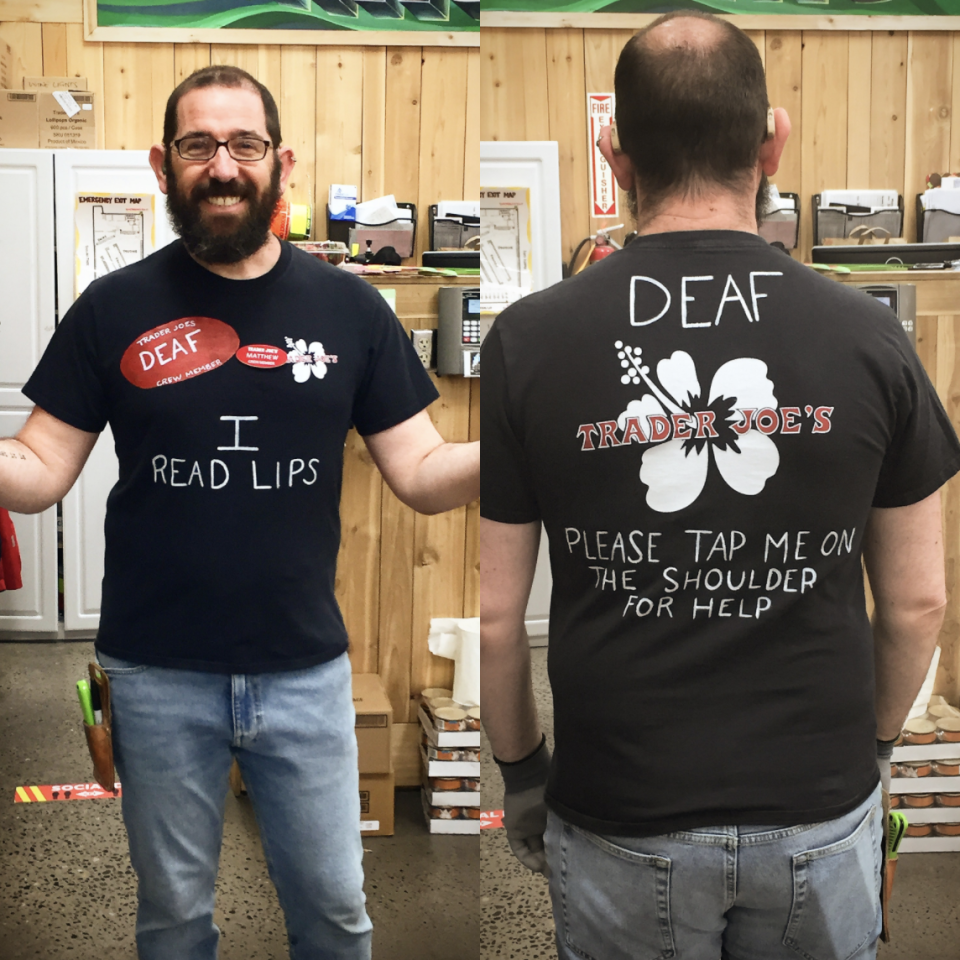 Simmons wrote on his Trader Joe's shirt to inform customers that he is deaf. (Photo courtesy of Matthew Simmons)