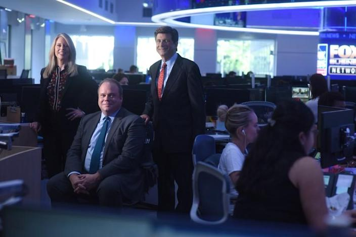 MANHATTAN, NEW YORK, AUGUST 29, 2019 The Fox News political polling team, Chris Stirewalt, Fox News Digital Politics Editor, with blue tie, Dana Blanton, VP of Public Opinion Research for Fox News Channel, and Arnon Mishkin, Director of Fox News Decision Desk, in red tie. are seen in the newsroom at Fox Studios in Manhattan, NY. 8/29/2019 Photo by Jennifer S. Altman/For The Times